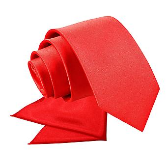 Rote Ebene Satin Krawatte & Einstecktuch für jungen eingestellt