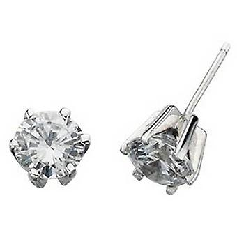 Beginnings Cubic Zirconia Round Stud Earrings - Silver/Clear