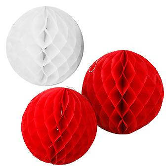 TRIXES Set of 3 Red and White Decorative Hanging Honeycomb Balls