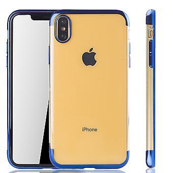 Caso de telefone celular para Apple iPhone capa em silicone volta tampa XS Max Blau - clara - TPU na borda transparente / brilhante azul