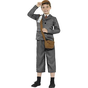 WW2 Desabrigada Costume do menino, cinzento, com jaqueta, calças, camisa simulada, saco, chapéu & crachá