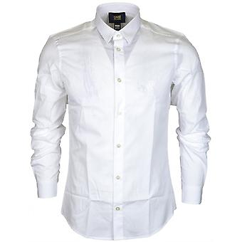 Cavalli Class Popeline Embroidered Slim Fit White Cotton Shirt