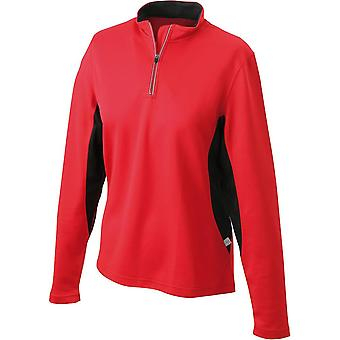 James and Nicholson Womens/dames chemise demi Zip Running à manches longues