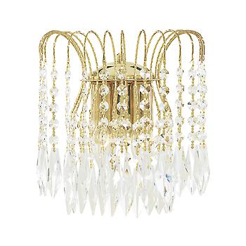 Searchlight 5172-2 Waterfall Gold Crystal Wall Light