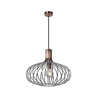 Vintage Manuela lucide rond métal cuivre et noir luminaire suspendu