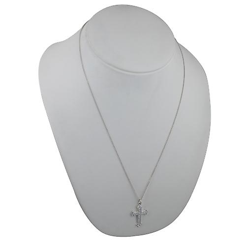 Silver 30x22mm Fancy embossed pattern Cross with a curb Chain 24 inches