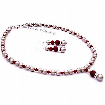 Platinum Champagne Pearls w/ Coral Red Crystals Low Prices