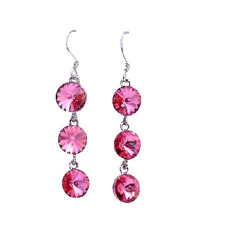 Rose Pink Crystal Round 10mm Swarovski Crystal Dangle Silver Earrings