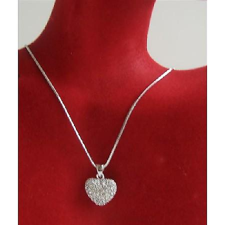 Heart Pendant Necklace Sparkling Bling Heart Pendant Necklace