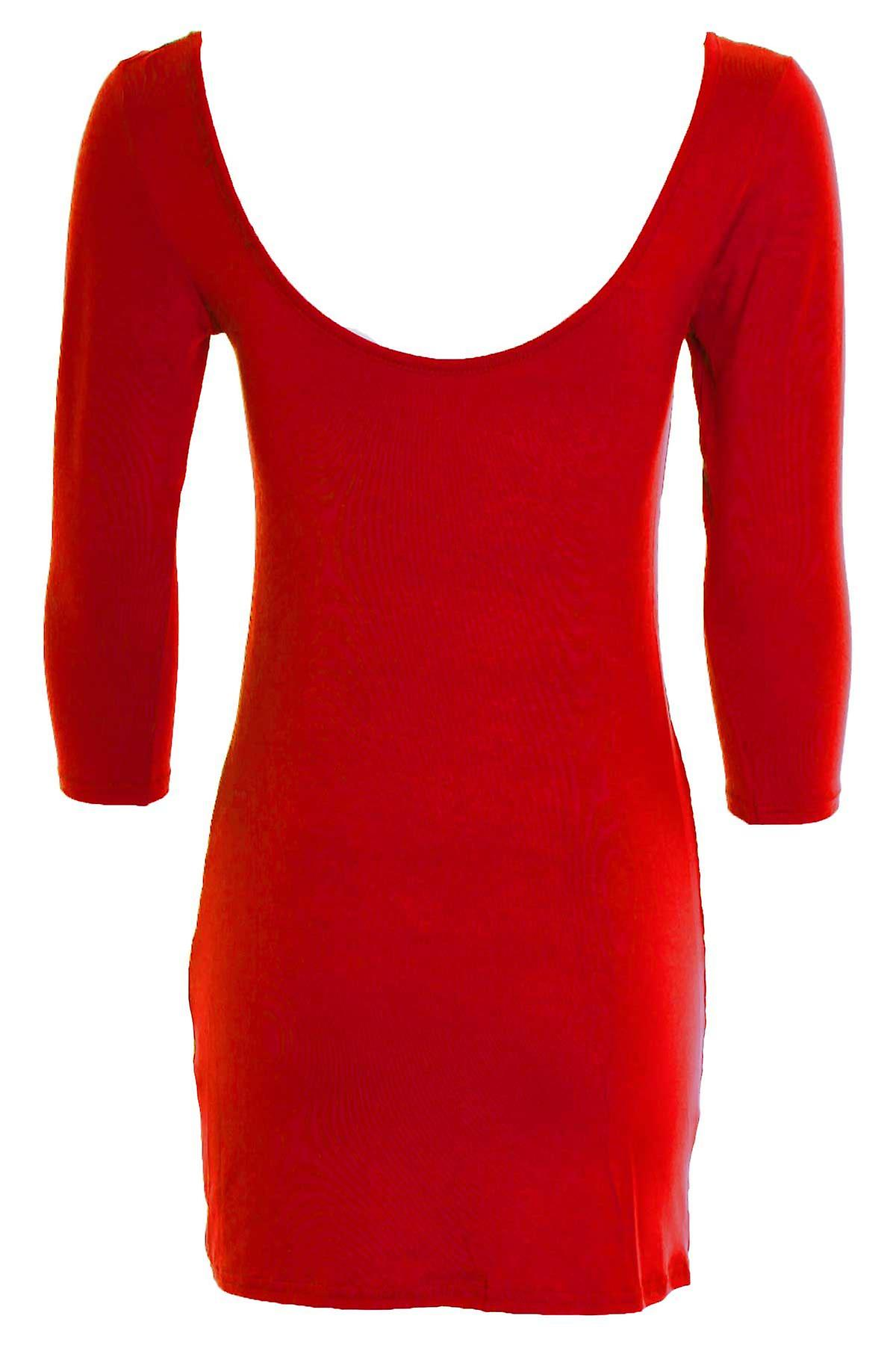 Women's 3/4 Sleeve Long Top Tunic T-Shirt Coloured Bodycon Ladies Dress