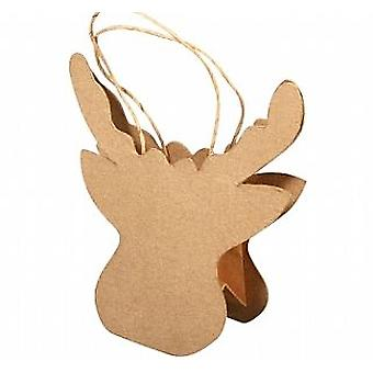 SALE - Paper Mache Rudolph Reindeer Shaped Christmas Gift Bag to Decorate