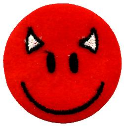 Red Devil Smiley iron-on/sew-on cloth patch  (sq)
