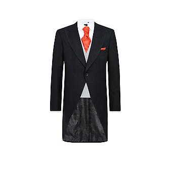 Dobell Mens Black Herringbone Morning Wedding Tailcoat Regular Fit