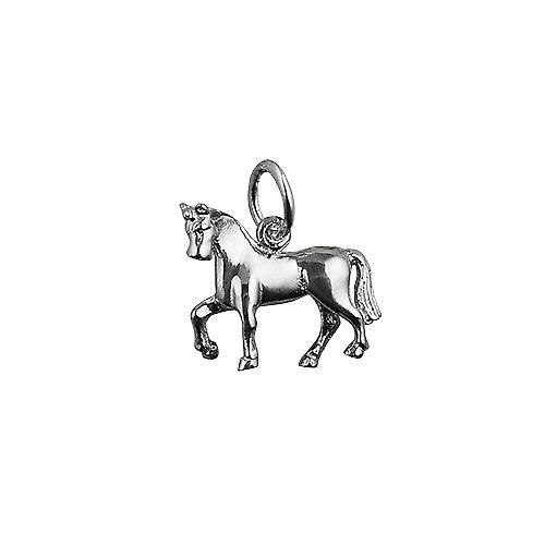 Silver 13x15mm unsaddled Horse Pendant or Charm