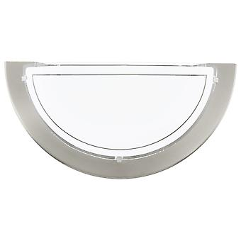 Eglo Planet 1 Wall Light In Satin Nickel And White Glass