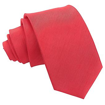 Rød shantung Slim tie