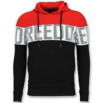 Striped Hooded Sweatshirt-hooded Hoodie-Red