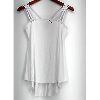 Kate & Mallory Top Multi Strap Tank with Grommet Shoulder White A434466