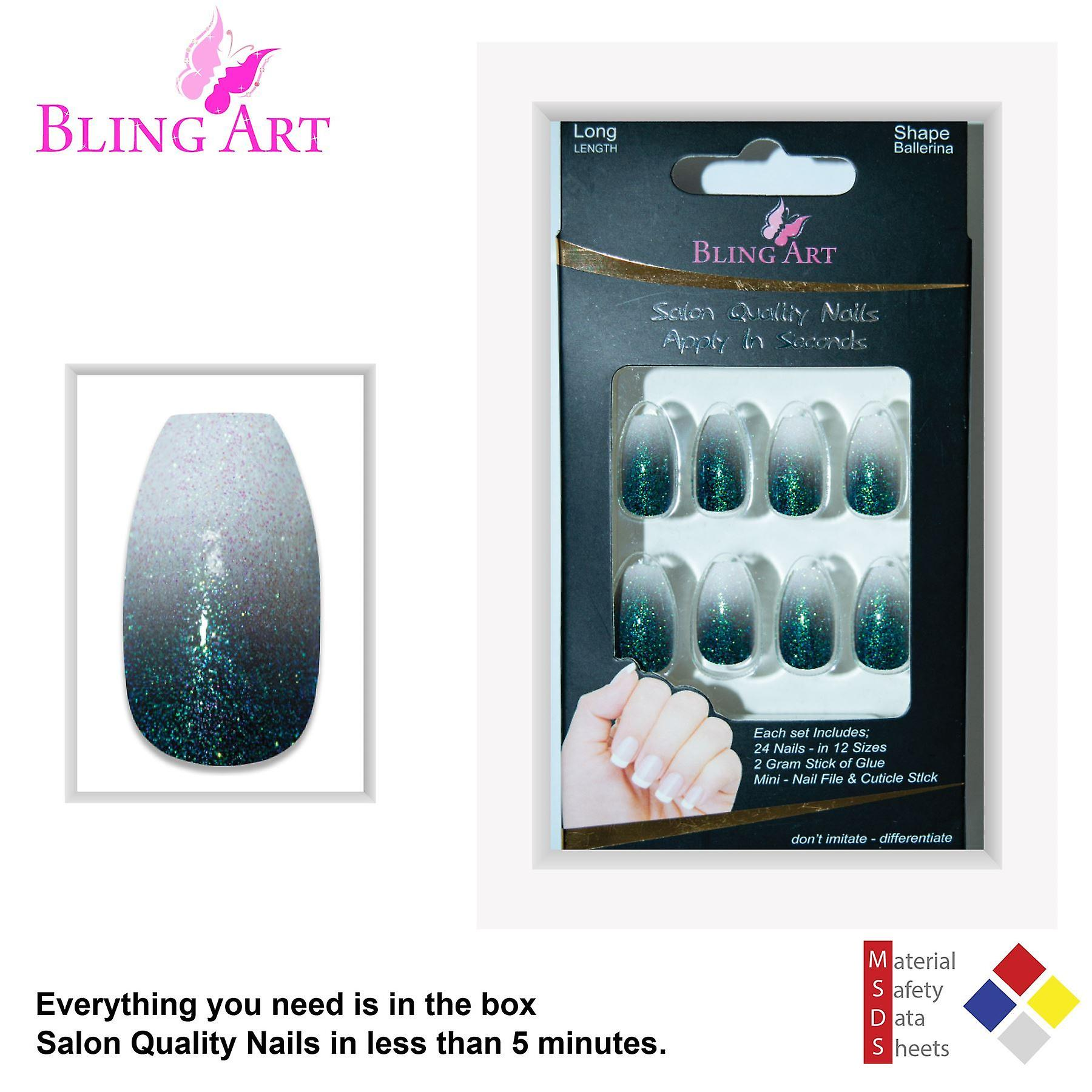 False nails by bling art black gel ombre ballerina coffin 24 fake acrylic tips