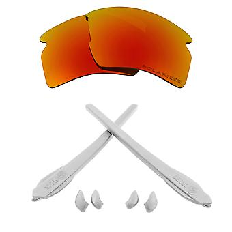 Replacement Lenses Kit Compatible with OAKLEY FLAK 2.0 XL Polarized Red & White
