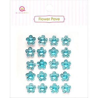 Flower Pave Adhesive Crystal Embellishments 20/Pkg-Blue FPV1-906