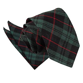 Black & vert avec cravate Tartan rouge & mouchoir de poche Set