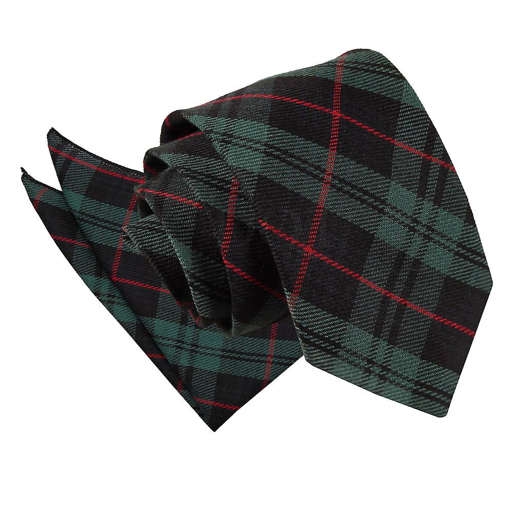 Tartan Black & Green with Red Tie 2 pc. Set