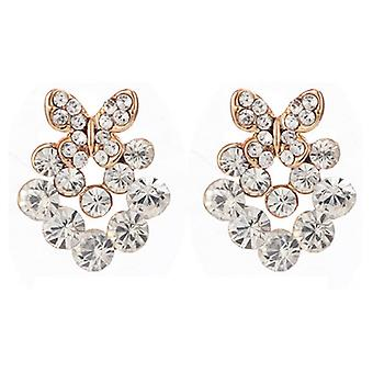 Clip On Earrings Store Gold & Clear Crystal Flower Clip On Earrings