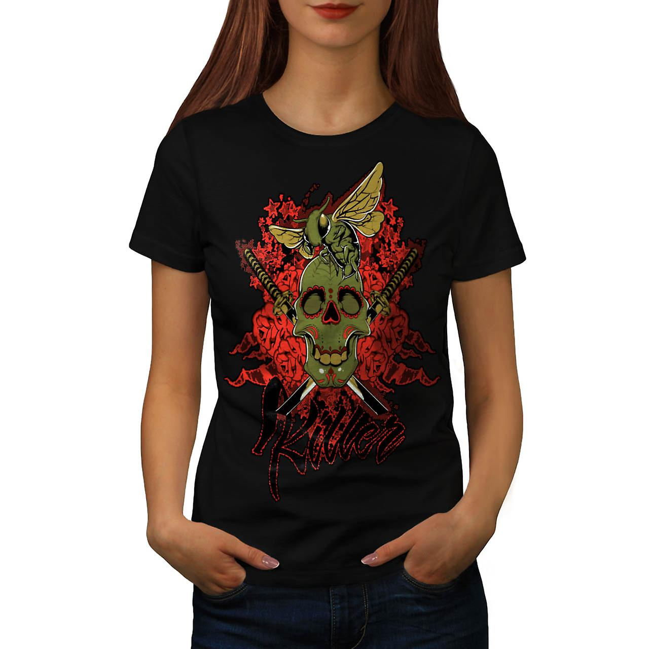Killer Skull Wasp Bee Insect Fly Women Black T-shirt | Wellcoda