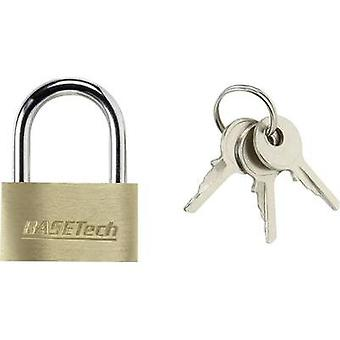 Padlock 29.8 mm Basetech 1363031 Gold-yellow Key