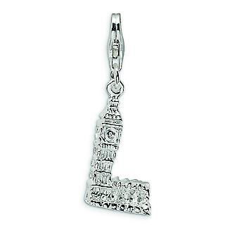 Sterling Silver Rhodium-plated Fancy Lobster Closure 3-D Polished Big Ben With Lobster Clasp Charm - Measures 32x10mm