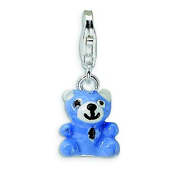 Sterling Silver Blue Enamel Teddy Bear With Lobster Clasp Charm - 2.0 Grams - Measures 23x9mm