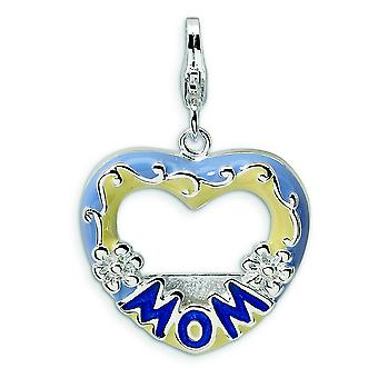 Sterling Silver 2-D Blue Enameled Mom Photo With Lobster Clasp Charm - 2.7 Grams - Measures 30x20mm