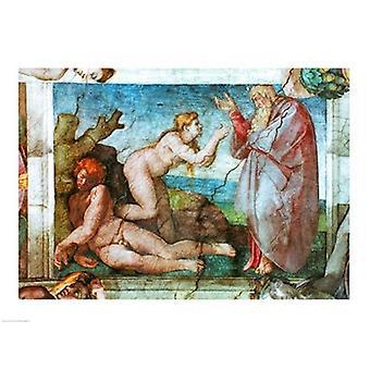 Sixtinischen Kapelle Erschaffung Evas mit vier Ignudi 1511 Poster Print von Michelangelo Buonarroti