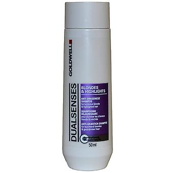 Doppi sensi di Goldwell Anti Brassiness Shampoo 50ml bionde & video sintesi