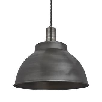 Vintage Sleek Edison Dome Pendant Light - Dark Pewter - 13