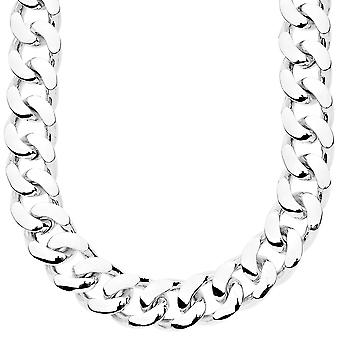 Iced out bling chain - PLAIN CUBAN 15 mm silver