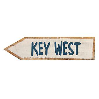 Key West Directional Arrow Wood Wall Plaque 18 Inch Blue and White Sign