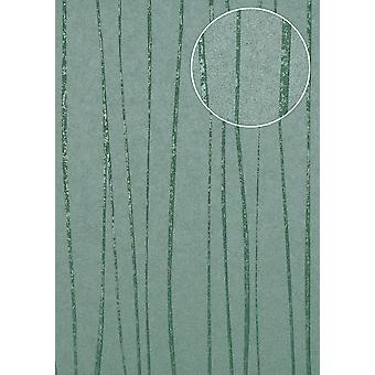 Fine stripe wallpaper Atlas COL-965-7 non-woven wallpaper smooth design shimmering green mint turquoise 5.33 m2