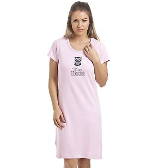Camille Light Pink Owl Motif Cotton Nightdress