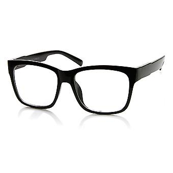 Casual Bold Thick Square Frame Clear Lens Horn Rimmed Glasses