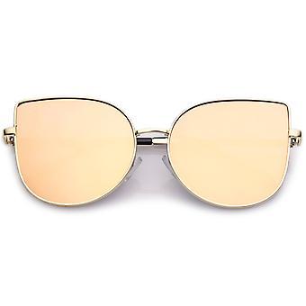 Women's Oversize Metal Cat Eye Sunglasses With Pink Mirror Flat Lens 58mm