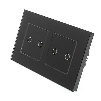 I LumoS Black Glass Double Frame 4 Gang 1 Way Remote & Dimmer Touch LED Light Switch Black Insert