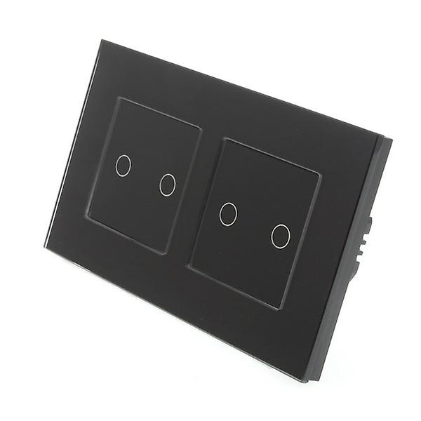 I LumoS noir Glass Double Frame 4 Gang 1 Way Remote & Dimmer Touch LED lumière Switch noir Insert