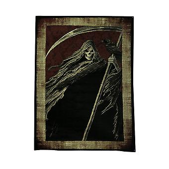 Black and Red Grim Reaper 5 x 7 inch Area Rug with Beige Border