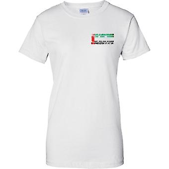 UAE Grunge Country Name Flag Effect - Ladies Chest Design T-Shirt