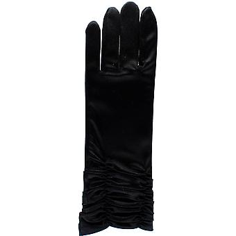 Short Black Ruffled Satin Fancy Dress Gloves