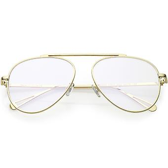 Premium Modern Metal Aviator Eyeglasses Single Brow Bar Clear Flat Lens 57mm