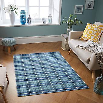 Cottage Washable Flatweave Rugs 22G Blue