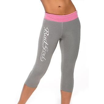 Bad Girl Logo Capri Tights - Charcoal Marl/Pink Marl